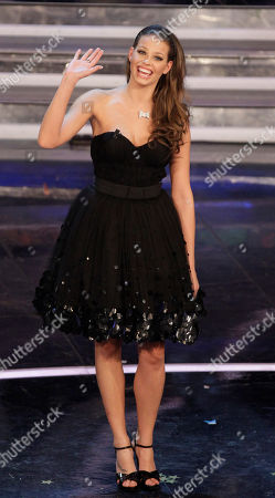 Czech Republic model Ivana Mrazova waves on the stage during the 62nd edition of the Sanremo Song Festival, in Sanremo, Italy