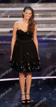 Czech Republic model Ivana Mrazova performs during the 62nd edition of the Sanremo Song Festival, in Sanremo, Italy