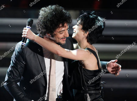 Dolcenera, right, performs with Max Gazze' during the 62nd edition of the Sanremo Song Festival, in Sanremo, Italy