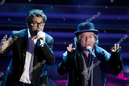 Stock Picture of Samuele Bersani, left, performs with Paolo Rossi during the 62nd edition of the Sanremo Song Festival, in Sanremo, Italy