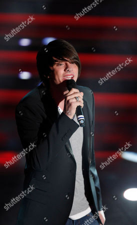 Italian singer Alessandro Casillo performs during the 62nd edition of the Sanremo Song Festival, in Sanremo, Italy