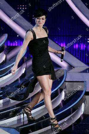 Italian singer Dolcenera performs during the 62nd edition of the Sanremo Song Festival, in Sanremo, Italy