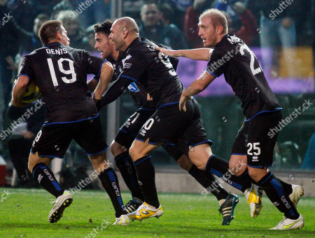 Simone Tiribocchi Atalanta's Simone Tiribocchi, center, is congratulated by his teammates after scoring during a Serie A soccer match against Catania in Bergamo, Italy, . The game ended 1-1