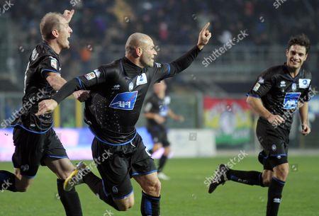 Simone Tiribocchi Atalanta's Simone Tiribocchi, center, reacts after scoring during a Serie A soccer match against Catania in Bergamo, Italy