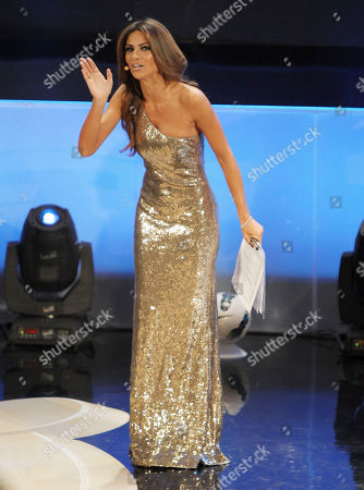 """Alessia Ventura Italian showgirl Alessia Ventura gestures during the """"Gran Gala' del calcio"""" show, where the best Serie A players are selected, in Milan, Italy"""