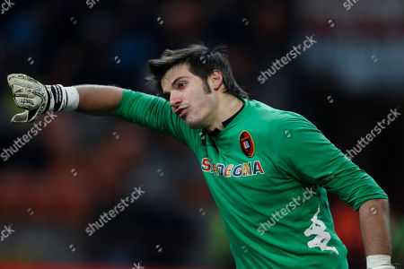 Cagliari goalkeeper Michael Agazzi reacts during a Serie A soccer match between AC Milan and Cagliari, at the San Siro stadium in Milan, Italy, Sunday, Jan.29, 2012