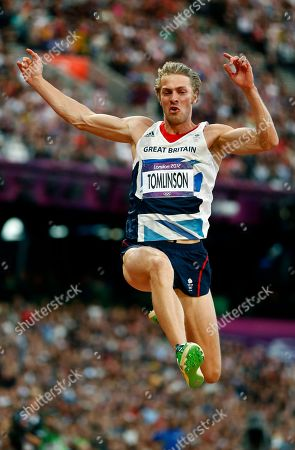 Britain's Christopher Tomlinson competes in the men's long jump during athletics competition in the Olympic Stadium at the 2012 Summer Olympics, in London