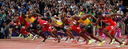 From right, Trinidad's Richard Thompson, Jamaica's Asafa Powell, United States' Tyson Gay, Jamaica's Yohan Blake, United States' Justin Gatlin, Jamaica's Usain Bolt, United State's Ryan Bailey, and Netherlands' Churandy Martina start in the men's 100-meters final during the athletics in the Olympic Stadium at the 2012 Summer Olympics, London