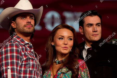 "Actors Mark Tacher, left, Angelique Boyer, center, and David Zepeda, all part of the cast of the new soap opera ""Abismo de Pasion"" or ""Abyss of Passion"" pose for photographers during a presentation to the press at the Televisa network studios in Mexico City, Mexico, . The story is based on the 1996 soap opera, ""Cañaveral de Pasiones"" or ""Canefield of Passions"" and many scenes were filmed in the Yucatan Peninsula, southeastern Mexico"