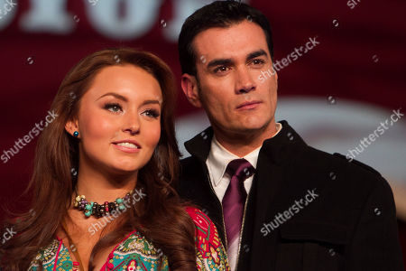 "Mexican actress Angelique Boyer and Mexican actor David Zepeda, both part of the cast of the new soap opera ""Abismo de Pasion"" or ""Abyss of Passion"" pose for photographers during a presentation to the press at the Televisa network studios in Mexico City, Mexico, . The story is based on the 1996 soap opera, ""Cañaveral de Pasiones"" or ""Canefield of Passions"" and many scenes were filmed in the Yucatan Peninsula, southeastern Mexico"