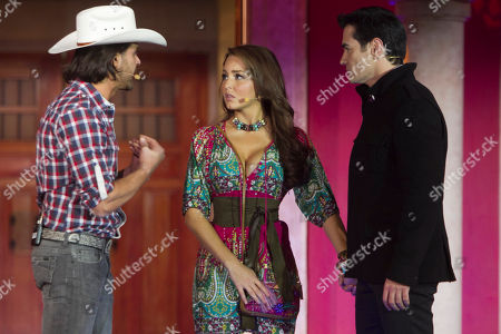"Mexican actors Mark Tacher, left, Angelique Boyer, center, and David Zepeda, all part of the cast of the new soap opera ""Abismo de Pasion"" or ""Abyss of Passion"" perform a scene during a presentation to the press at the Televisa network studios in Mexico City, Mexico, . The story is based on the 1996 soap opera, ""Cañaveral de Pasiones"" or ""Canefield of Passions"" and many scenes were filmed in the Yucatan Peninsula, southeastern Mexico"