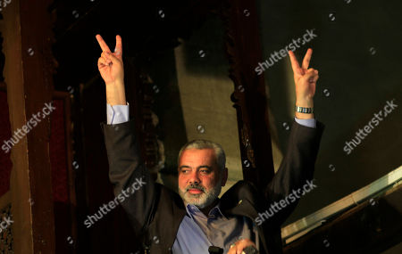 Ismail Haniyeh Gaza's Hamas Prime Minister Ismail Haniyeh, flashes victory sign as he gives a speech after Friday prayer at Al Azhar mosque in Cairo, Egypt