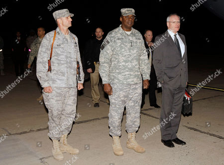 Anthony Rock, Lloyd Austin, James F. Jeffrey US Air Force Maj. Gen. Anthony Rock, left, Gen. Lloyd Austin, the top U.S. commander in Iraq, center, and U.S. Ambassador to Iraq James Jeffrey, right, wait for U.S. Vice President Joe Biden to arrive in Baghdad, Iraq, . Biden arrived on a surprise visit to Iraq late Tuesday in a trip designed to chart a new relationship between the two countries after all American forces have left the country in just over a month