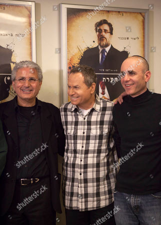 """Stock Image of From right: Israeli film director Joseph Cedar, actor Shlomo Bar Aba, and producer Moshe Edry stand together during a press conference after the film """"Footnote"""", a mordant tale of rivalry between father-son Talmudic scholars was nominated in the Academy Awards' best foreign-language film category, in Tel Aviv, Israel.The budgets are bare-bones and the talent pool is limited, but little Israel has emerged as a surprising powerhouse in the foreign film industry. The Israeli film """"Footnote,"""" up for an Academy Award for Best Foreign Language Film this year, is Israel's fourth such nomination in the past five years _ crowning Israel in that five-year period with more nominations than any other country"""