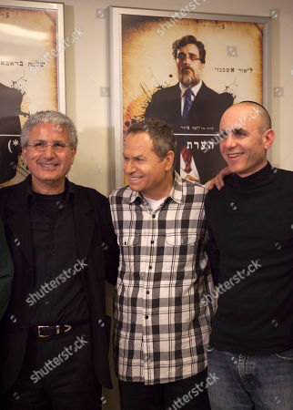 """From right: Israeli film director Joseph Cedar, actor Shlomo Bar Aba, and producer Moshe Edry stand together during a press conference after the film """"Footnote"""", a mordant tale of rivalry between father-son Talmudic scholars was nominated in the Academy Awards' best foreign-language film category, in Tel Aviv, Israel, . Cedar, who was Oscar nominated in 2008 for """"Beaufort,"""" said it was """"very flattering"""" to be nominated in what he called """"a great year for foreign film at the Oscar"""
