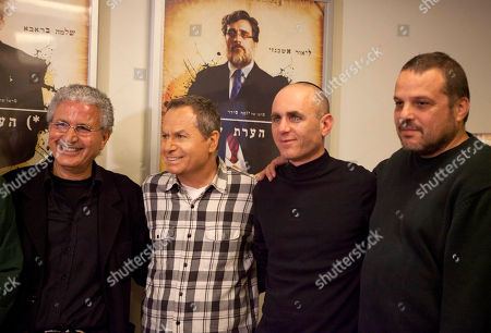 """Stock Photo of From right: Israeli film producer David Mandil, film director Joseph Cedar, actor Shlomo Bar Aba, and producer Moshe Edry stand together during a press conference after the film """"Footnote"""", a mordant tale of rivalry between father-son Talmudic scholars was nominated in the Academy Awards' best foreign-language film category, in Tel Aviv, Israel, . Cedar, who was Oscar nominated in 2008 for """"Beaufort,"""" said it was """"very flattering"""" to be nominated in what he called """"a great year for foreign film at the Oscar"""