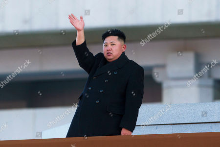 "Stock Image of Kim Jong Un North Korean leader Kim Jong Un waves at Kumsusan Memorial Palace in Pyongyang, North Korea, after reviewing a parade of thousands of soldiers, commemorating the 70th birthday of the late Kim Jong Il. North Korea said, leader Kim Jong Un has been named first secretary of the Workers' Party in what appears to be a new top party post. Meanwhile, his late father, Kim Jong Il, was declared ""eternal"" general secretary of the ruling party at a special conference held Wednesday in Pyongyang. (AP Photo/David Guttenfelder, File"