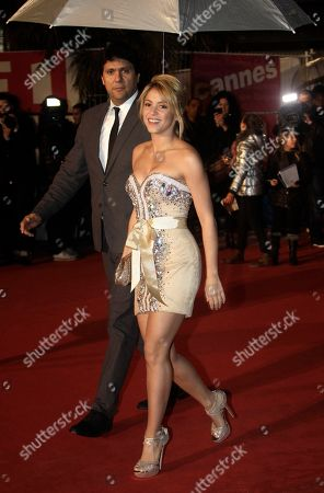 Shakira Colombian performer Shakira arrives for the NRJ Music awards ceremony in Cannes, southeastern France. A spokesman for the 35-year-old Columbian singer says Shakira Mebarak and 25-year-old soccer star Gerard Pique of FC Barcelona welcomed son Milan Pique Mebarak, at 9:36 p.m. in Barcelona, Spain