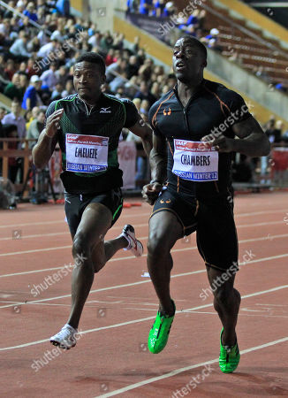 Stock Picture of United States Dwain Chambers, right, competes with Nigeria Peter Emelieze, left, during Men's 60 meters event during Russian Winter IAAF Indoor Athletic championship in Moscow
