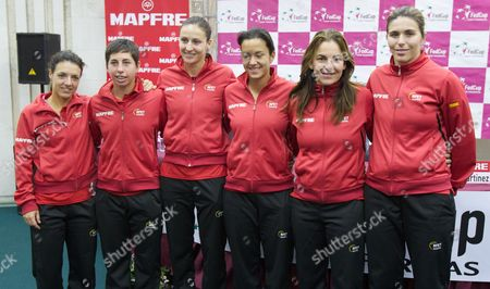 Nuria LLagostera, Carla Suarez, Arantxa Parra-Santonja, Silvia Soler, Arantxa Sanchez Vicario, Maria Jose Martinez Spanish team, from left, Nuria LLagostera, Carla Suarez, Arantxa Parra-Santonja, Silvia Soler, Arantxa Sanchez Vicario and Maria Jose Martinez pose after team's news conference in Moscow, Russia, . Spain faces Russia at their World Group first round tennis match on the upcoming weekend
