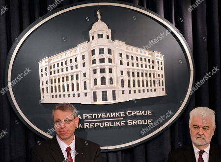 Mirko Cvetkovic, David J. Rintoul U.S. Steel Vice President of European Operations David J. Rintoul, left, and Serbian Prime Minister Mirko Cvetkovic during a press conference in Belgrade, Serbia, . Serbia's government on Tuesday bought back from U.S. Steel its loss-making plant in the Balkan country for a symbolic $1, with a goal to avoid its closure and the layoff of 5,400 of its workers
