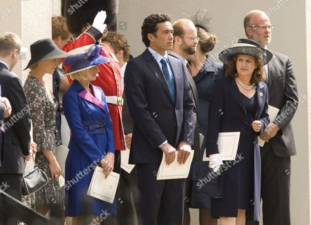 Lady Davina Windsor (blue), husband Gary Lewis, Lord Nicholas Windsor (3rd right) and Lady Nicholas Windsor (2nd right)