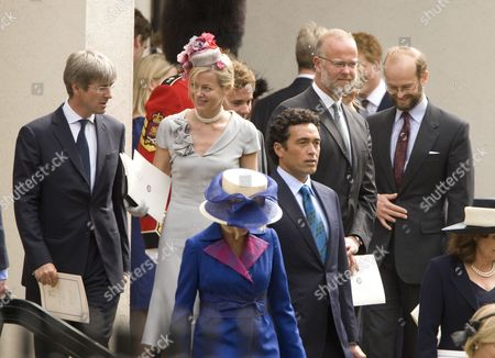 Lady Helen and Tim Taylor, Lady Davina Windsor (blue) and husband Gary Lewis, Lord Nicholas Windsor (right)