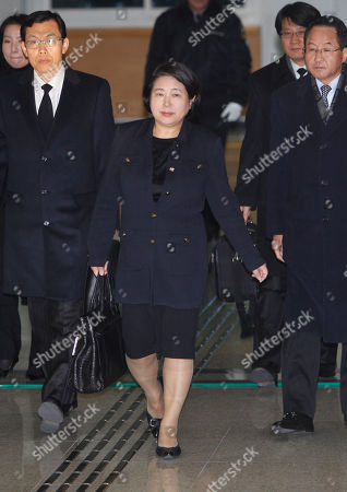 Hyun Jeong-eun Hyundai Group Chairman Hyun Jeong-eun, center, arrives at the Inter-Korean Transit Office from North Korea at the border village of Paju in the demilitarized zone, South Korea, . Hyun and the wife of the late former South Korean President Kim Dae-jung, Lee Hee-ho were part of the only group allowed by South Korea to visit the north to deliver their condolences for the late North Korean leader Kim Jong-Il in Pyongyang, North Korea