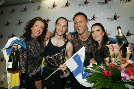 The winners Jussi Vaananen and Katja Koukkula from Finland with The Swedes Martin Lindberg and Cecilia Ehrling