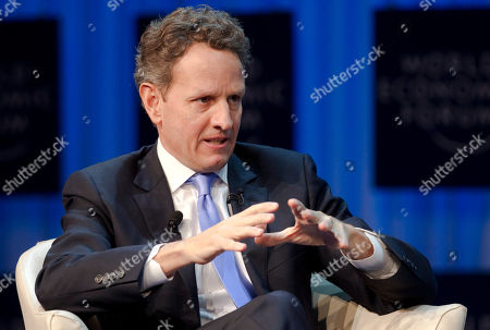 Stock Image of Timothy F. Geithner US Secretary of Treasure Timothy F. Geithner talks about US Economy during a plenary session at the 42nd annual meeting of the WEF in Davos, Switzerland, . The meeting lasts until Jan. 29
