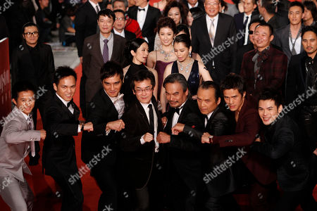 """Wei Te-sheng Bokeh Kosang Lin Ching-tai Taiwanese director Wei Te-sheng, fourth left, and Taiwanese actors of the movie """"Warriors of the Rainbow: Seediq Bale"""" at the 48th Golden Horse Awards, in Hsinchu, northern Taiwan. Wei is nominated for Best Director of the film """" Warriors of the Rainbow: Seediq Bale """" at this year's Golden Horse Awards, one of the Chinese-language film industry's biggest annual events"""