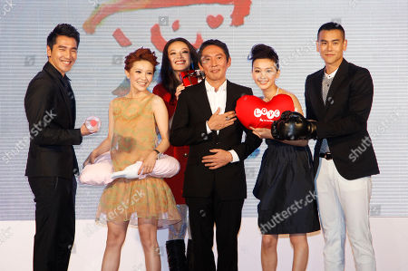 """Mark Chao, Amber Guo Cai-jie, Shu Qi, Doze Niu Chen-zer, Ivy Chen Yì-han, Eddie Peng From left to right:Taiwanese actor Mark Chao, Taiwanese actress Amber Guo Cai-jie, Taiwanese actress Shu Qi, Taiwanese director/actor Doze Niu Chen-zer, Taiwanese actress Ivy Chen Yì-han, and Taiwanese actor Eddie Peng pose for media as they arrive for the premiere of their new film entitled """"Love"""" in Taipei, Taiwan, . The romantic drama """"Love"""" opens in Asia on Valentine's Day, Feb. 14, 2012"""