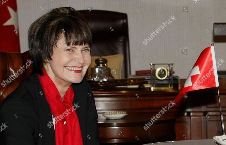 Micheline Calmy-Rey Swiss President and Foreign Ministter Micheline Calmy-Rey smiles during a meeting with Turkish Foreign Minister Ahmet Davutoglu, unseen, in Ankara, Turkey, . Calmy-Rey will address a meeting of Turkish ambassadors and meet with Turkish President Abdullah Gul