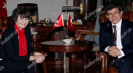 Micheline Calmy-Rey, Ahmet Davutoglu Swiss President and Foreign Ministter Micheline Calmy-Rey, left, and Turkish Foreign Minister Ahmet Davutoglu seen during a meeting in Ankara, Turkey, . She will address a meeting of Turkish ambassadors and meet with Turkish President Abdullah Gul