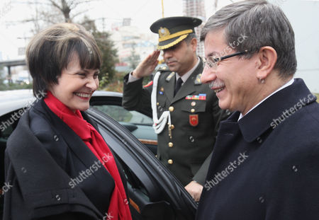 Micheline Calmy-Rey, Ahmet Davutoglu Swiss President and Foreign Minister Micheline Calmy-Rey, left, is welcomed by Turkish Foreign Minister Ahmet Davutoglu in Ankara, Turkey