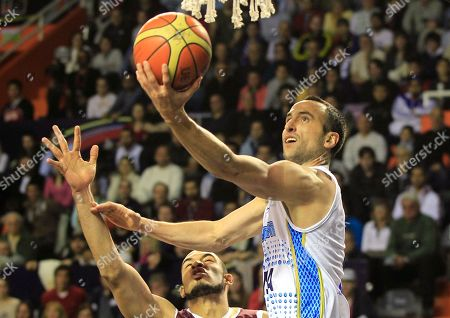 Argentina's Emanuel Ginobili, right, goes up for a shot over Venezuela's Jose Bravo during a FIBA Americas Championship basketball game in Mar del Plata, Argentina, . The top two finishers of the tournament get an automatic berth in the 2012 London Olympics and the next three advance to the last-chance Olympic qualifier to be held in July 2012