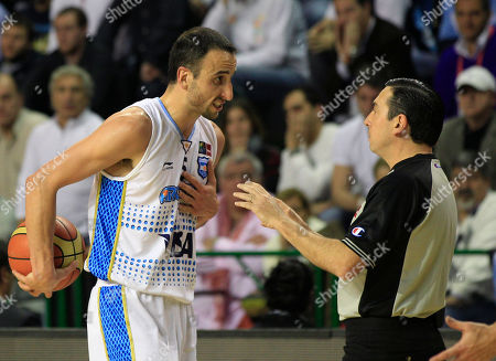 """Argentina's Emanuel """"Manu""""Ginobili reacts to a referee's call during a FIBA Americas Championship semi-final basketball game against Puerto Rico in Mar del Plata, Argentina, . The top two finishers of the tournament get an automatic berth in the 2012 London Olympics and the next three advance to the last-chance Olympic qualifier to be held in July 2012"""
