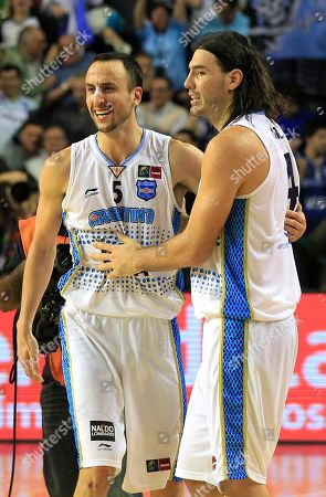 Argentina's Emanuel 'Manu' Ginobili, left, and teammate Luis Scola celebrate after defeating Puerto Rico 81-79 in their FIBA Americas Championship semi-final basketball game in Mar del Plata, Argentina, . Argentina will square off with Brazil in Sunday's final. As the top two finishers of the tournament, both teams get an automatic berth in the 2012 London Olympics. Brazil defeated the Dominican Republic 83-76