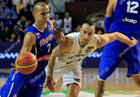 Puerto Rico's Carlos Arroyo, left, attempts to dribble past Argentina's Emanuel 'Manu' Ginobili during their FIBA Americas Championship semi-final basketball game in Mar del Plata, Argentina, . The top two finishers of the tournament get an automatic berth in the 2012 London Olympics and the next three advance to the last-chance Olympic qualifier to be held in July 2012