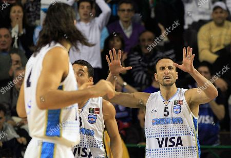 Argentina's Emanuel 'Manu' Ginobili, right, talks with his teammate Luis Scola, left, in their FIBA Americas Championship semi-final basketball game against Puerto Rico in Mar del Plata, Argentina, . The top two finishers of the tournament get an automatic berth in the 2012 London Olympics and the next three advance to the last-chance Olympic qualifier to be held in July 2012