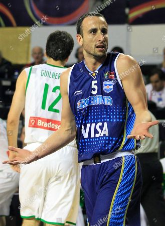 Argentina's Emanuel 'Manu' Ginobili reacts to a referee's call during a FIBA Americas Championship first place basketball game against Brazil in Mar del Plata, Argentina, . Argentina went on to defeat Brazil 80-75