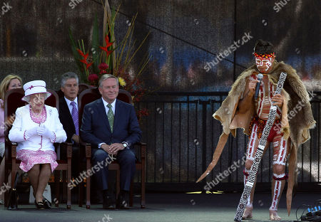 Queen Elizabeth II Colin Barnett Queen Elizabeth II, left, and West Australia's Premier Colin Barnett, second left, watch an aboriginal man playing a didgeridoo, an aboriginal wind instrument, during the Great Aussie Barbecue in Perth, Australia, . The queen ended her 16th visit to Australia being farewelled by thousands of people during an event on the banks of the Swan River
