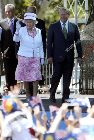 Queen Elizabeth II Colin Barnett Queen Elizabeth II, left, and West Australia's Premier Colin Barnett arrive at the Great Aussie Barbecue in Perth, Australia, . The queen ended her 16th visit to Australia being farewelled by thousands of people during an event on the banks of the Swan River