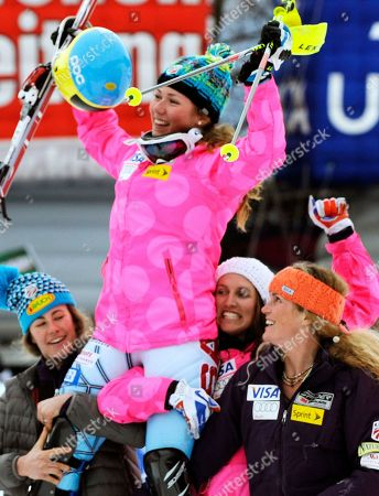 Mikaela Shiffrin Mikaela Shiffrin, of the United States, is carried shoulders high by her teammates Resi Stiegler, left, Julia Mancuso, second from right, and Sarah Schleper as she celebrates her third place after completing an alpine ski, women's World Cup slalom, in Lienz, Austria, . Mikaela Shiffrin, who started No. 40, posted the fastest time in the final run to finish 1.30 back in third for her best career result