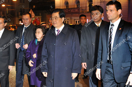 Hu Jintao, Liu Yongqing Chinese President Hu Jintao, center, and his wife Liu Yongqing arrive at the Mozart house in Salzburg, Austria, . Hu is in Austria for a four day state visit