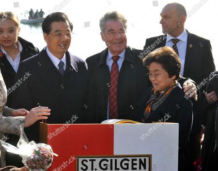 Hu Jintao, Liu Yongqing, Heinz Fischer Austrian President Heinz Fischer, center, his counterpart of China Hu Jintao, left, and his wife Liu Yongqing, right, pose for photographers in St. Gilgen, in the Austrian province of Salzburg, . Hu is in Austria for a four day state visit