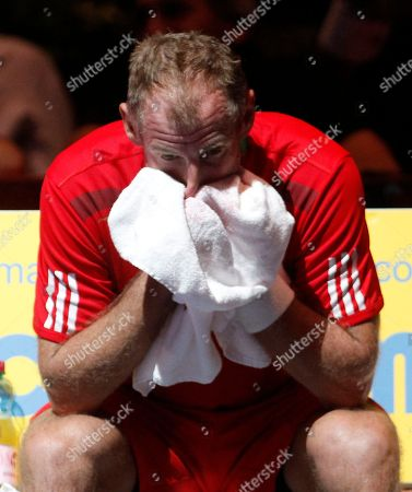 Thomas Muster Thomas Muster of Austria reacts during his match against Dominic Thiem of Austria during their match at the Erste Bank Open tennis trophy in Vienna, Austria, on