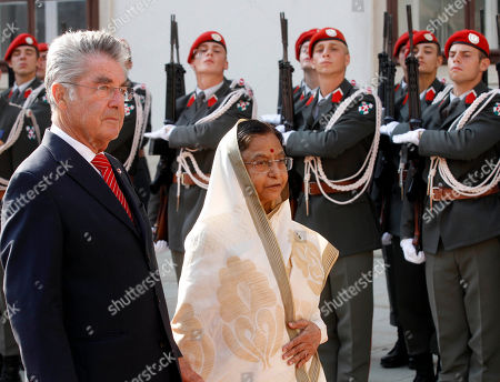 Heinz Fischer, Pratibha Devisingh Patil Austrian President Heinz Fischer and India's President Pratibha Devisingh Patil, from left, review the honor guard during during a welcome ceremony in Vienna, Austria, on . India's President Pratibha Devisingh Patil is on an official visit in Austria