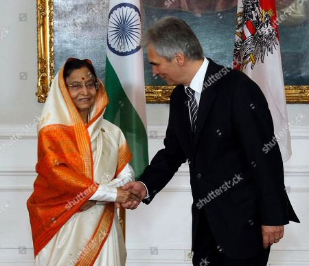Werner Faymann, Pratibha Devisingh Patil Austrian Chancellor Werner Faymann, right, welcomes India's President Pratibha Devisingh Patil, left, for talks at the federal chancellery in Vienna, Austria, on . India's President Pratibha Devisingh Patil is on an official visit in Austria