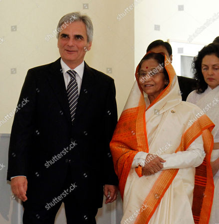 Werner Faymann, Pratibha Devisingh Patil Austrian Chancellor Werner Faymann welcomes India's President Pratibha Devisingh Patil, from left, for talks at the federal chancellery in Vienna, Austria, on . India's President Pratibha Devisingh Patil is on an official visit in Austria
